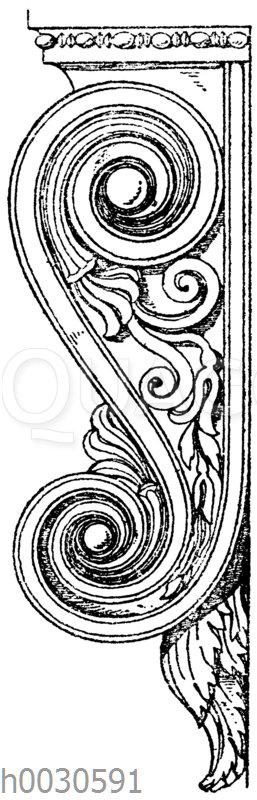 Seitenansicht einer griechischen Konsole von der Tür des Erechtheion in Athen.