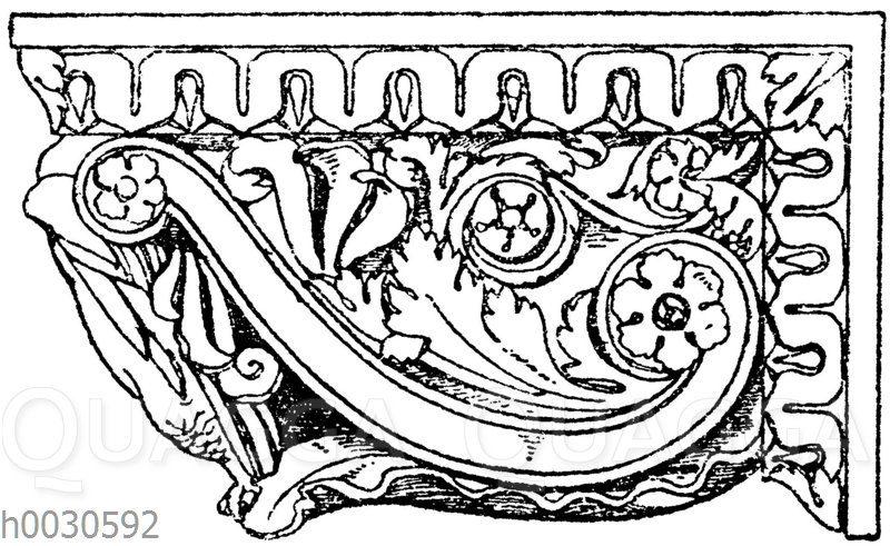 Seitenansicht einer römischen Konsole im Museum des Vatikan in Rom.