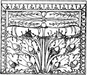 Vorderansicht einer römischen Konsole im Museum des Vatikan in Rom.