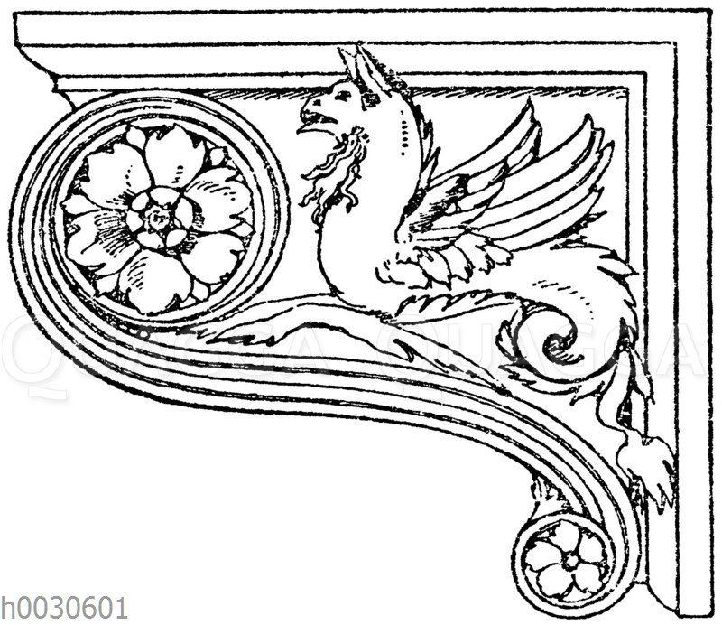 Seitenansicht einer Renaissancekonsole im Museum des Vatikan in Rom.