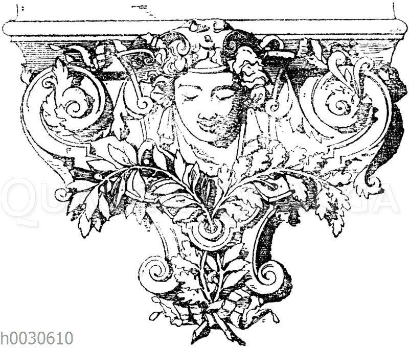 Konsole: Französische Konsole von der Bibliothek des Louvre. Architekt Lefuel. (Raguenet)