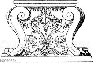 Trapezophor: Antiker Tischfuß aus Marmor. (Vulliamy)