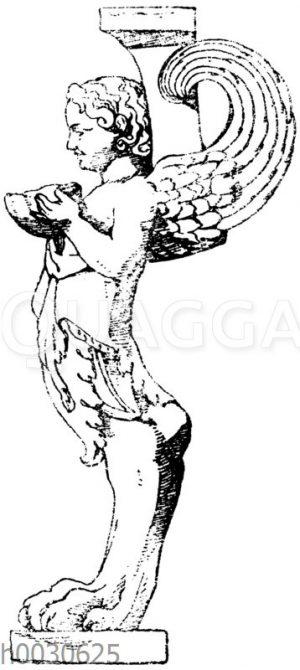 Trapezophor: Seitenansicht eines kleinen römischen Tischfußes aus Marmor. Museum in Neapel. Pantherklaue