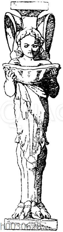 Trapezophor: Vorderansicht eines kleinen römischen Tischfußes aus Marmor. Museum in Neapel. Pantherklaue