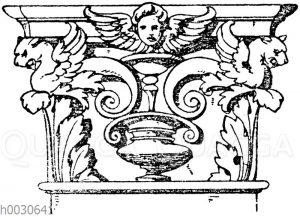 Korinthisches Pilasterkapitell. Ital. Renaissance. Kapelle des Palazzo vecchio in Florenz. In Holz geschnitzt. (Musterornamente)