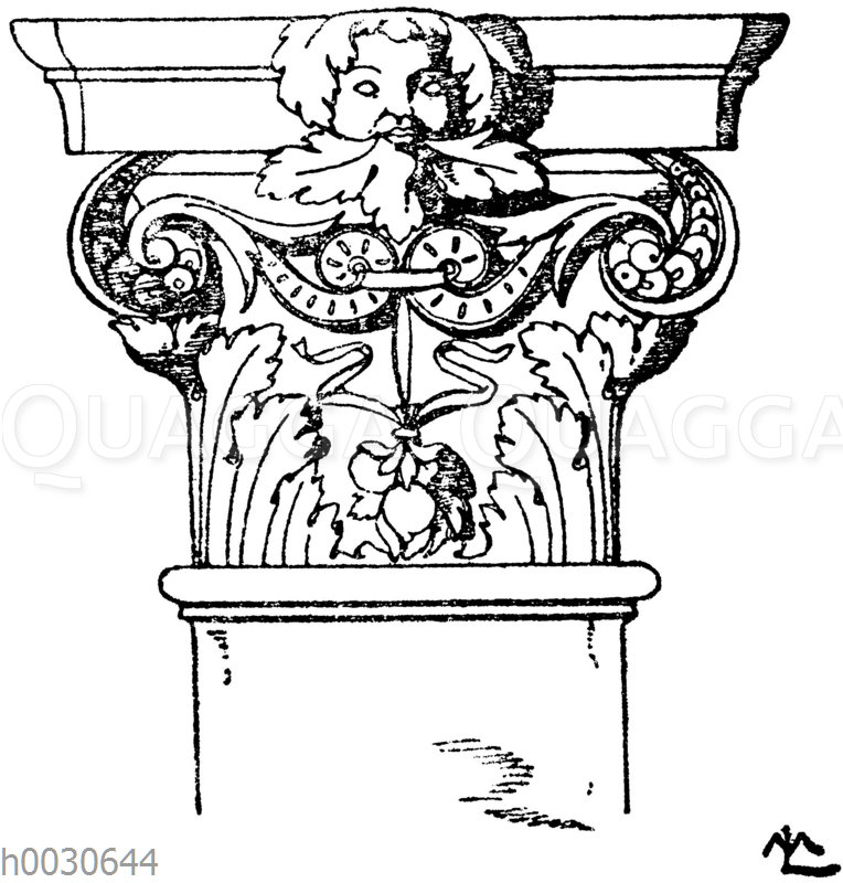 Korinthisches Pilasterkapitell. Französ. Renaissance. Vorn Grabmal Louis XII. in St. Denis.