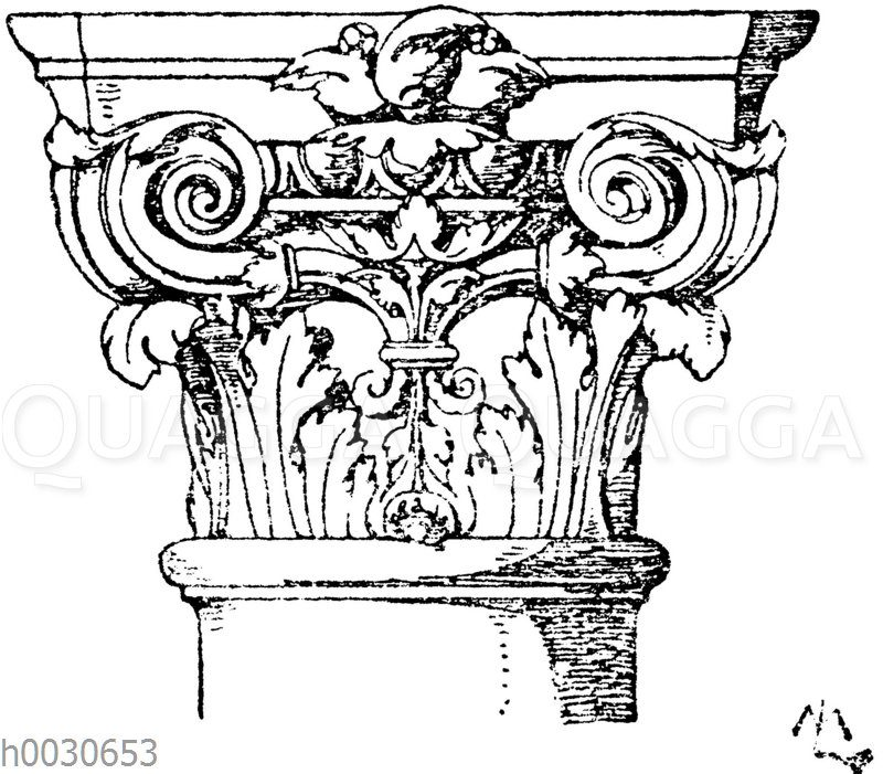 Französisches Säulenkapitell. Vaudevilletheater in Paris. Architekt Magne. 19. Jahrhundert.