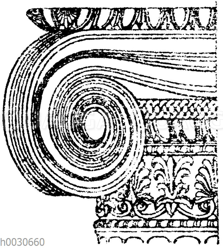 Griechisch-ionisches Säulenkapitell vom Erechtheion in Athen.