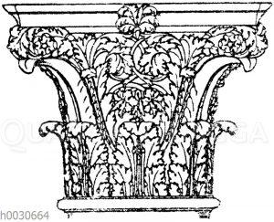 Römisch-korinthisches Säulenkapitell aus den Kaiserpalästen in Rom.