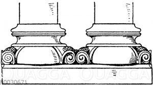 Säulenfuß: Romanische Doppelbasis von der Kirche in Schwarzach.