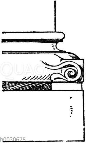 Säulenfuß: Romanische Basis aus der Kirche St. Remy zu Reims. (Raguenet)