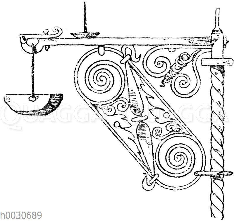 Schmiedeiserner Weihwasserbeckenträger von einem Grabkreuze auf dem Friedhof zu Kirchzarten