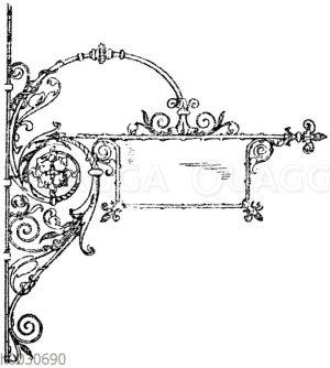 Schmiedeiserner Wandarm mit Aushängeschild. Architekt Crecelius