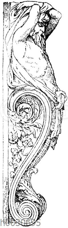 Seitenansicht eines Atlanten. Gegenstück zur vorigen. 19. Jahrhundert.