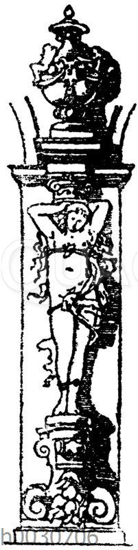 Karyatide von der projektierten Wanddekoration des Festsaals im Künstlervereinslokal in Karlsruhe.Direktor C.Hammer.