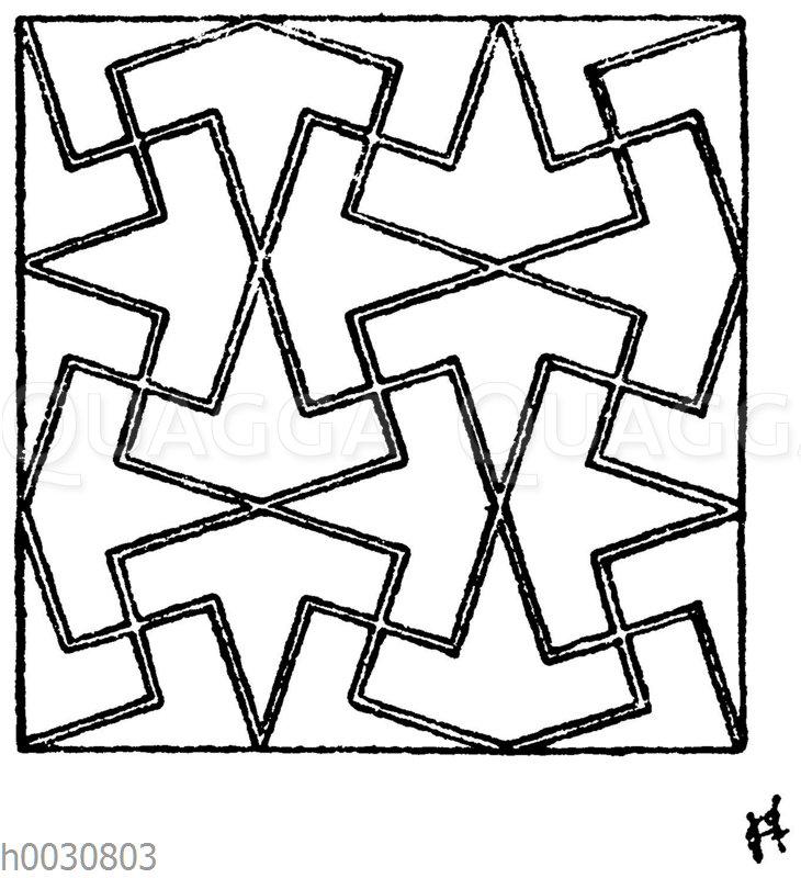 Maurisches Mosaikmuster aus der Gesandtenhalle der Alhambra in Granada. (Owen Jones)