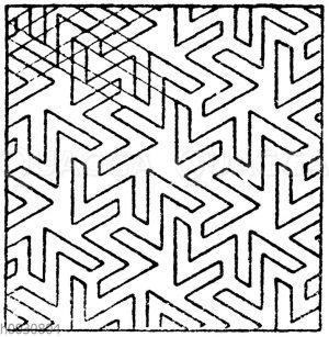 Mosaikmuster: Arabische Mosaikarbeit in Stuck auf Stein. (Prisse d'Avennes)