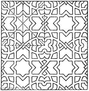 Mosaikmuster: Geometrisches Flachmuster von einem Kreuze in Sta. Croce in Florenz.