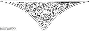 Zwickel: Frühgotische Zwickelfüllung von der Kirche zu Kent in England.