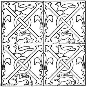 Mittelalterliches Fliesenmuster. Aus Fontenay (Cote d'Or). Im Museum in Rouen.
