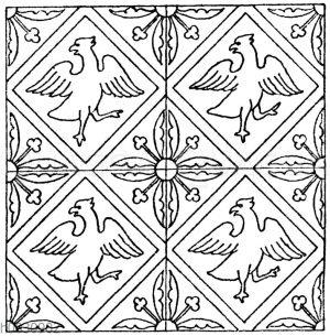 Mittelalterliches Fliesenmuster. Aus Fontenay (Cote d'Or). Kathedrale zu St. Omer.