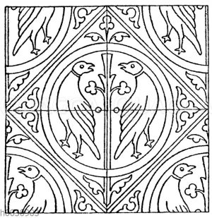 Mittelalterliches Fliesenmuster. Aus Fontenay (Cote d'Or). Troyes