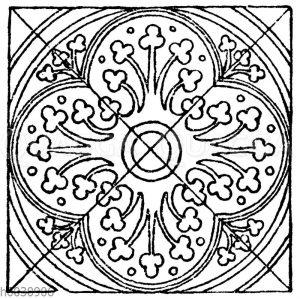 Mittelalterliches Fliesenmuster. Aus Fontenay (Cote d'Or)