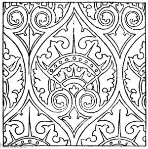 Wandmalereimuster: Französische Kirchenmalerei in mittelalterlichem Stile. 19. Jahrhundert.