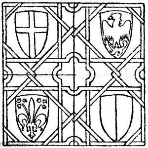 Wandmalereimuster: Wandmalerei aus dem Palazzo del Podestà in Florenz. 14. Jahrhundert (Musterornamente)