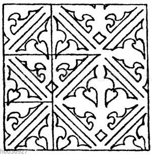 Wandmalereimuster: Schablonenmalerei von einem alten Schranke aus Brandenburg. Anfang des 15. Jahrhundert (Musterornamente)