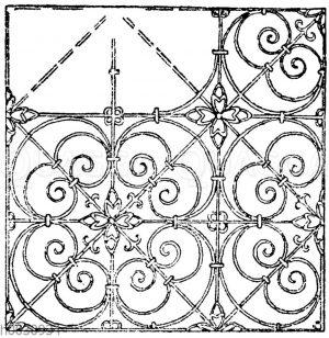 Gittermotiv von Schlossermeister Klain in Salzburg. Deutsche Renaissance. 17. Jahrhundert