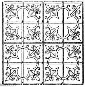 Spätgotisches Gittermotiv vom Chorabschluß im Münster zu Konstanz. 15. Jahrhundert.