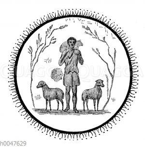 Christus der gute Hirte. Wandbild in den Katakomben von S. Callisto in Rom aus dem 3. Jahrhundert