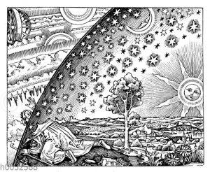 Mittelalterliche Darstellung des Weltensystems