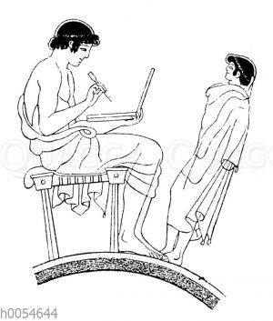 Schüler mit Wachstafel und Stilos