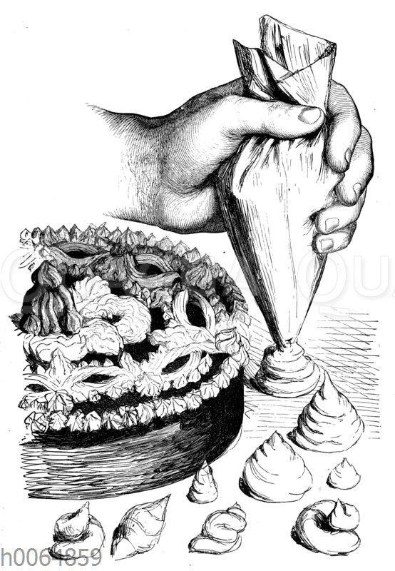 Tortendekoration mit dem Spritzbeutel