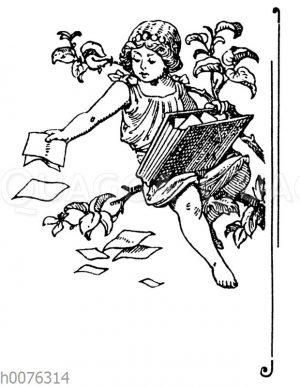 Vignette: Kind mit Blättern