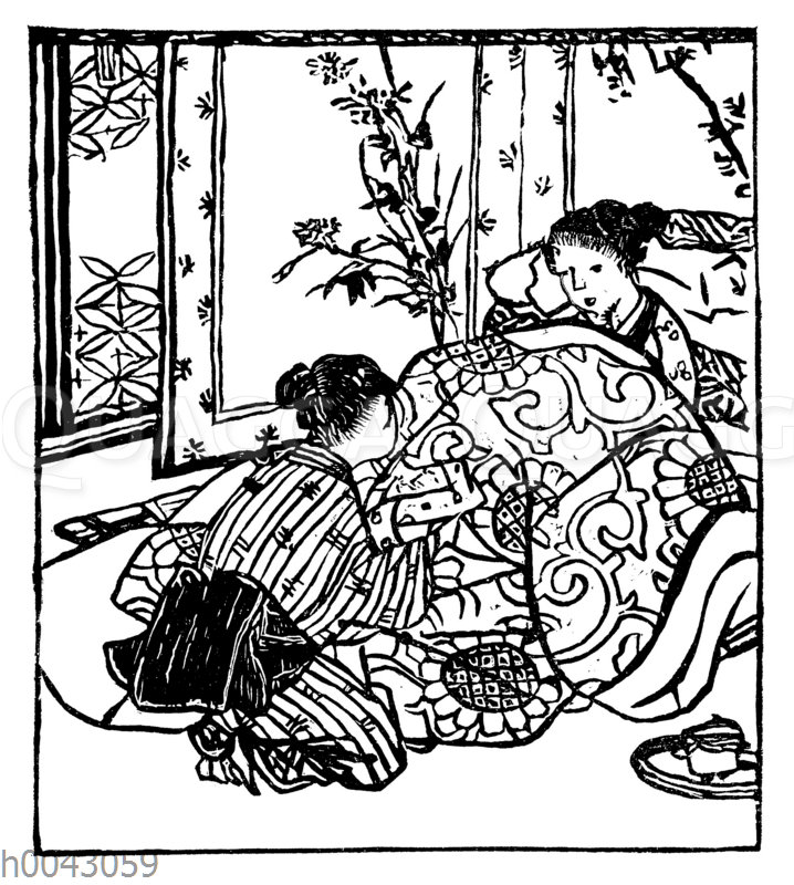 Japanerin bei einer schweren Geburt