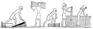 Einsammeln der Hirse und Abstreifen der Frucht im Alten Ägypten