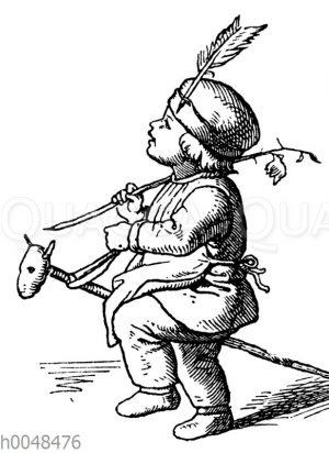 Kind spielt Indianer mit Steckenpferd