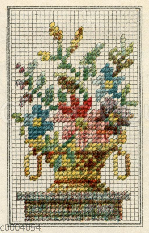 Stickmuster Blumenkübel