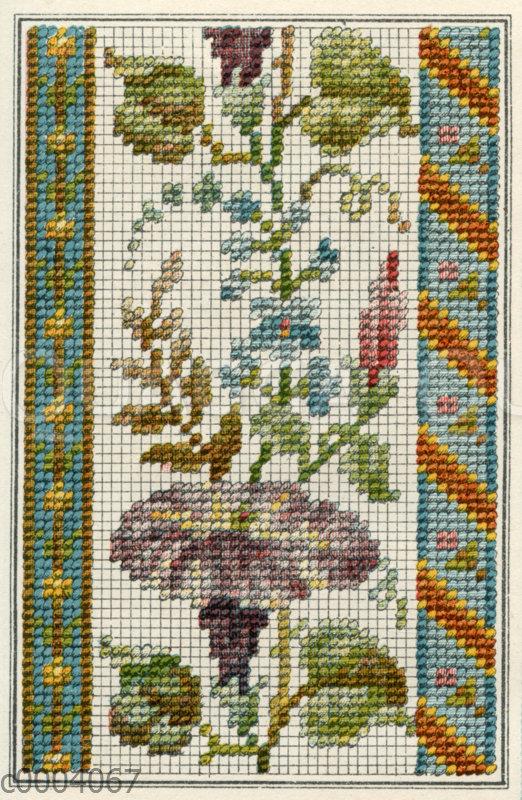 Stickmuster Bordüre mit Blumen