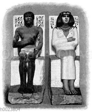 Kalksteinstatuen des Rahotep und der Nefert