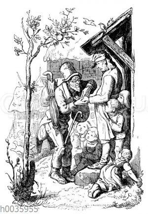 Wandernder Wahrsager liest einem Mann aus der Hand