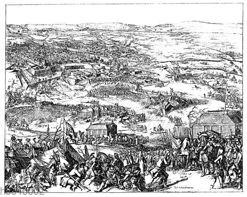 Eroberung von Stettin Ende Dezember 1677. Nach einer zeitgenössischen Radierung