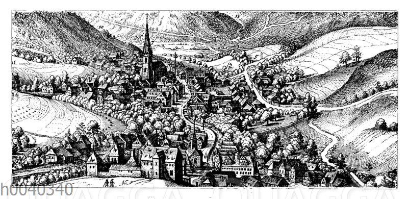 Bad Langenschwalbach. Nach dem Kupferstich von Matthäus Merian