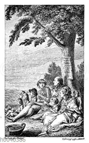 Titelbild zu Campes Robinson Crusoe. Radierung von Daniel Chodowiecki