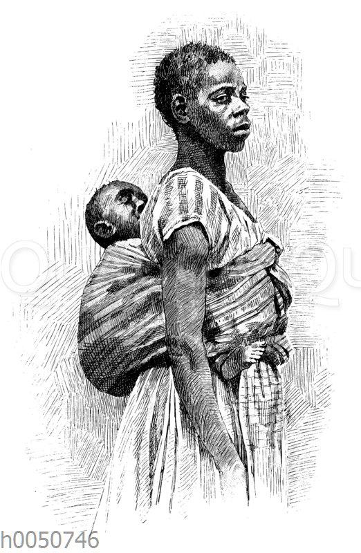 Sklavin mit Kind auf einer Fazenda in Brasilien