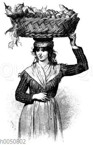Slawisches Mädchen aus Görz trägt Früchte in einem Korb auf dem Kopf