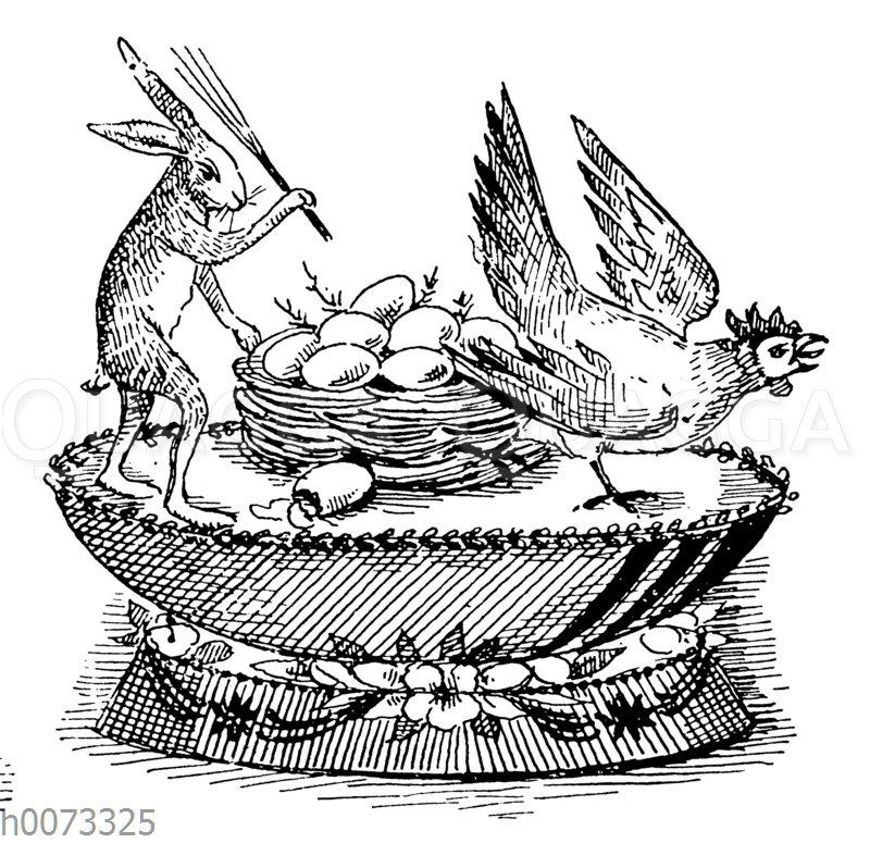 Osterhase auf einer Torte treibt Huhn vom Nest
